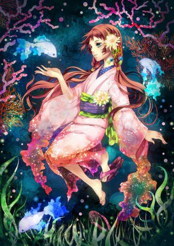 women dress fish artwork braids yukata Japanese clothes anime girls underwater wallpaper