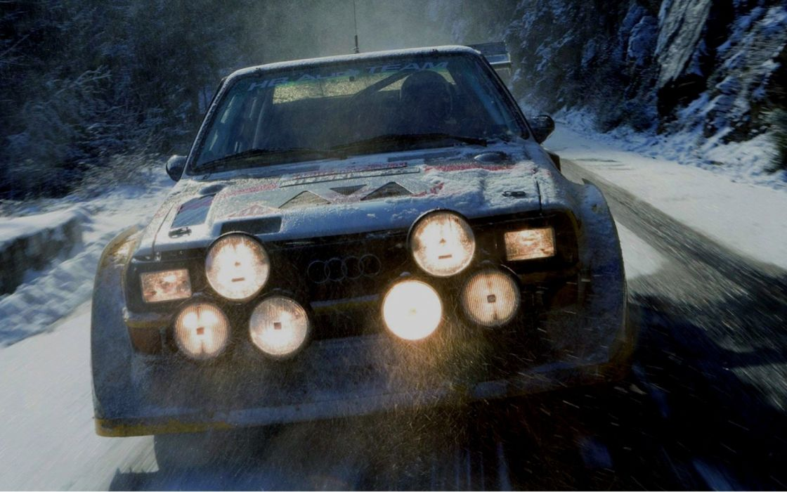 snow trees Audi cliffs rally roads racing Audi Quattro races 4x4 rally cars snowing German cars rally car sports car wallpaper