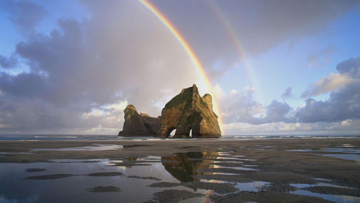 rainbows skyscapes sea wallpaper