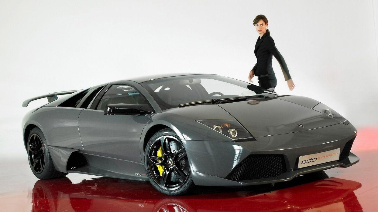 women cars Lamborghini Murcielago widescreen wallpaper