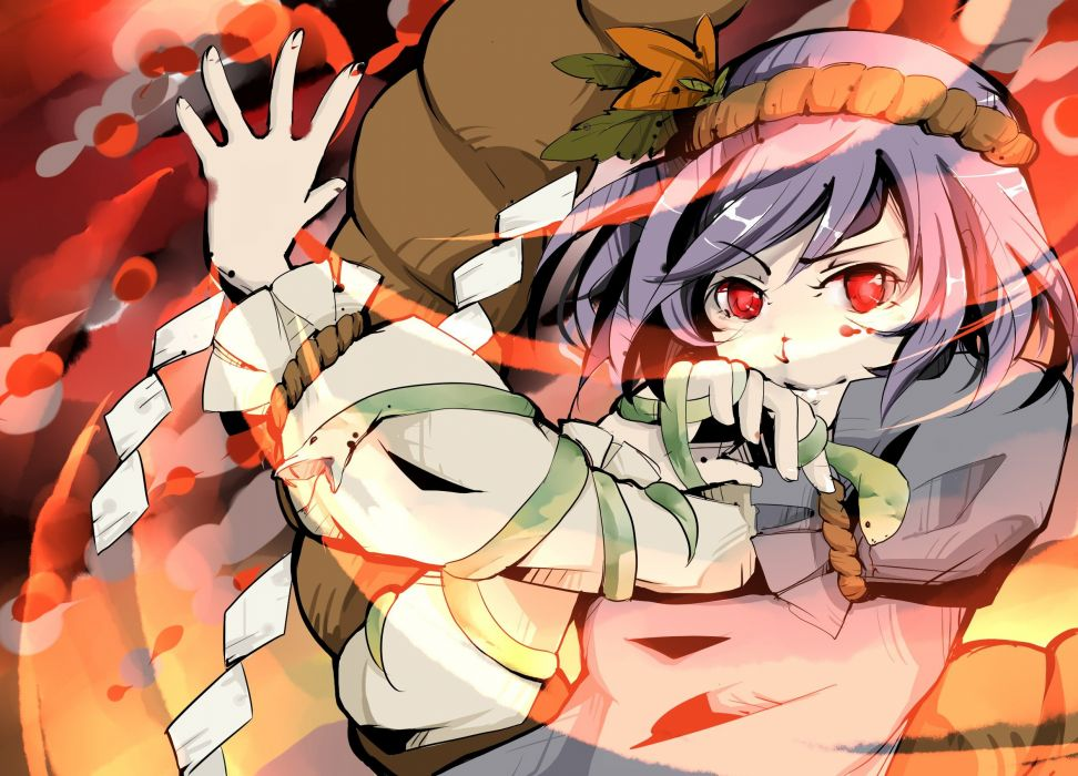 video games Touhou Goddess purple hair red eyes short hair Yasaka Kanako ropes wallpaper