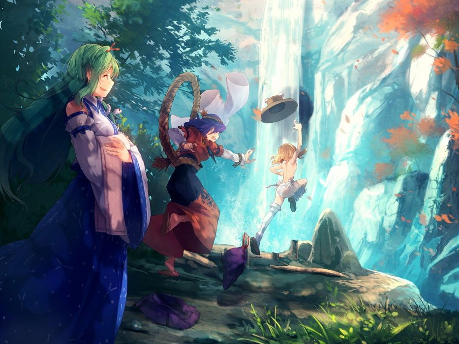 blondes water video games nature Touhou trees leaves skirts rocks long hair jumping topless blue hair undressing Goddess Miko short hair thigh highs green hair Mountain of Faith Moriya Suwako smiling open mouth sandals closed eyes waterfalls Kochiya Sanae wallpaper