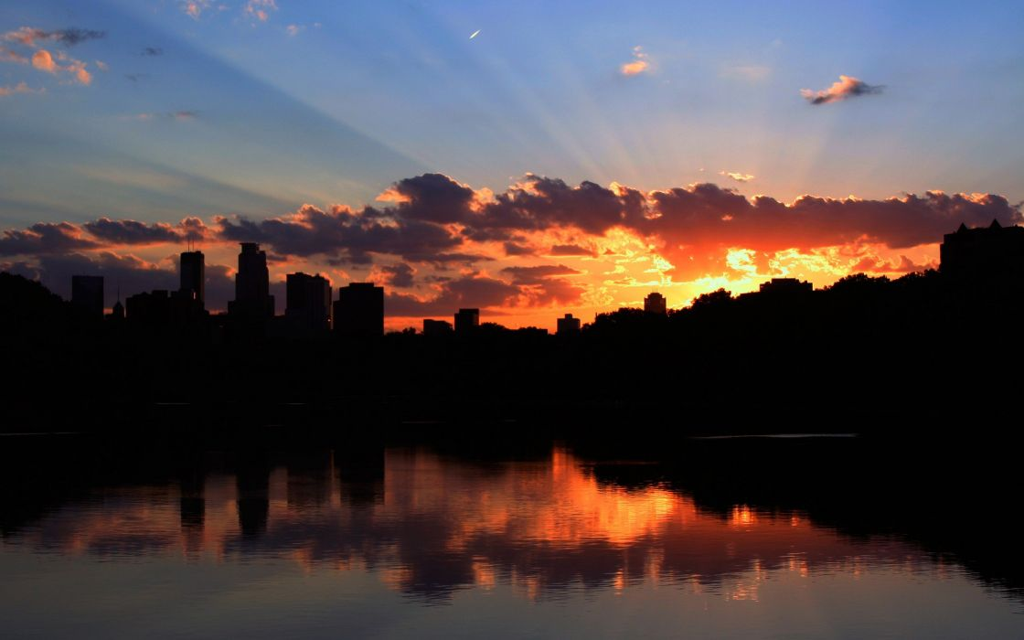 sunset cityscapes architecture silhouettes rivers Minneapolis wallpaper