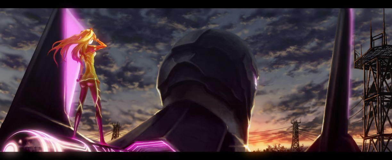 blondes sunset mecha Neon Genesis Evangelion Asuka Langley Soryu skyscapes wallpaper