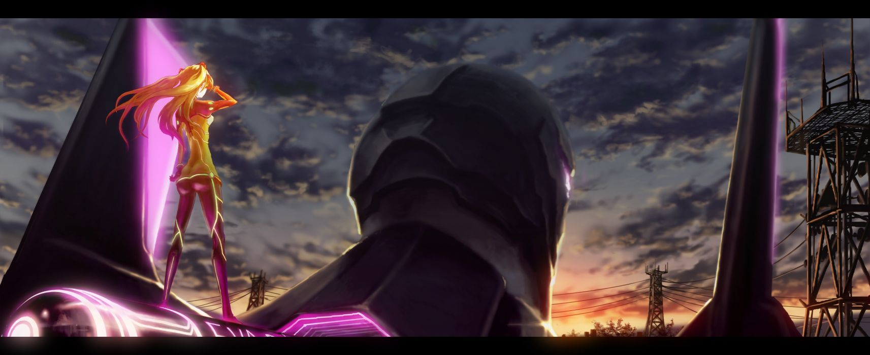 blondes sunset mecha Neon Genesis Evangelion Asuka Langley Soryu skyscapes wallpaper