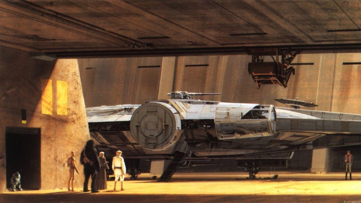 C3PO R2D2 Luke Skywalker Chewbacca Millennium Falcon Obi-Wan Kenobi tatooine Star wars: New Hope wallpaper