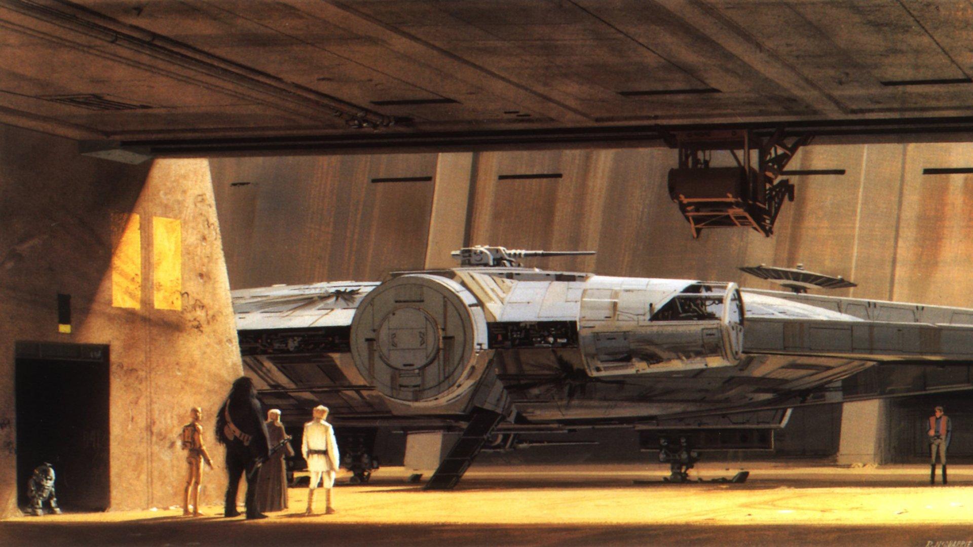 C3po R2d2 Luke Skywalker Chewbacca Millennium Falcon Obi Wan Kenobi Tatooine Star Wars New Hope Wallpaper 1920x1080 290250 Wallpaperup