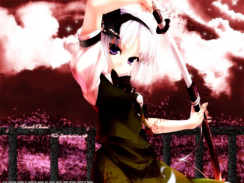 video games Touhou katana weapons Konpaku Youmu white hair purple eyes swords games wallpaper
