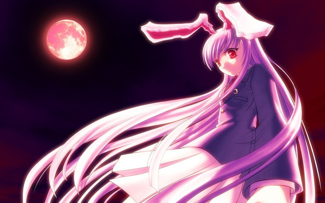 Touhou night Moon school uniforms schoolgirls tie skirts long hair bunny girls jackets purple hair animal ears red eyes Reisen Udongein Inaba bunny ears skyscapes wallpaper
