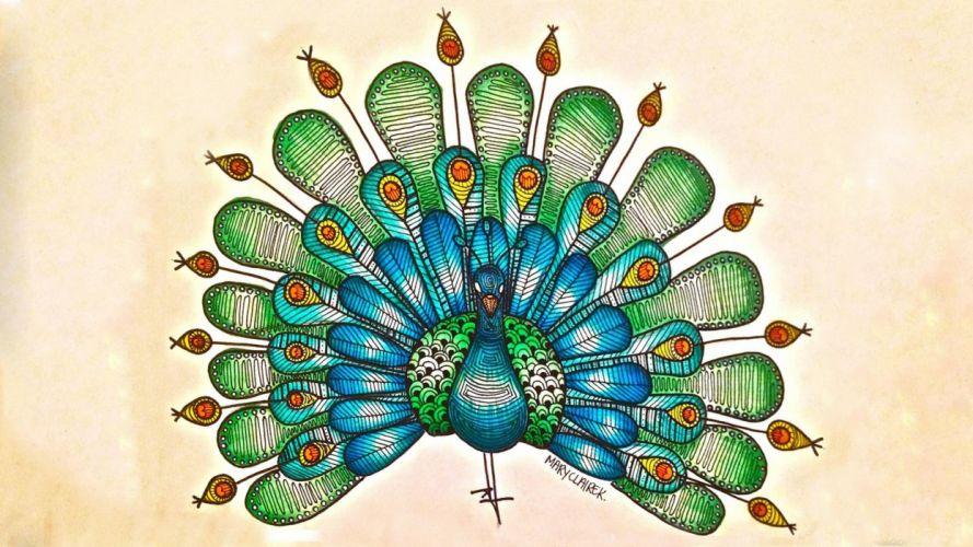 birds artwork peacocks wallpaper