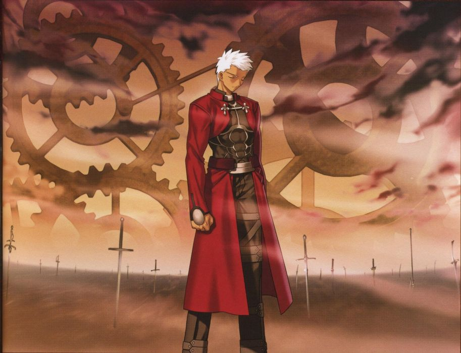 Fate/Stay Night archers Emiya Shirou artbook artwork characters Archer (Fate/Stay Night) scans Fate series wallpaper