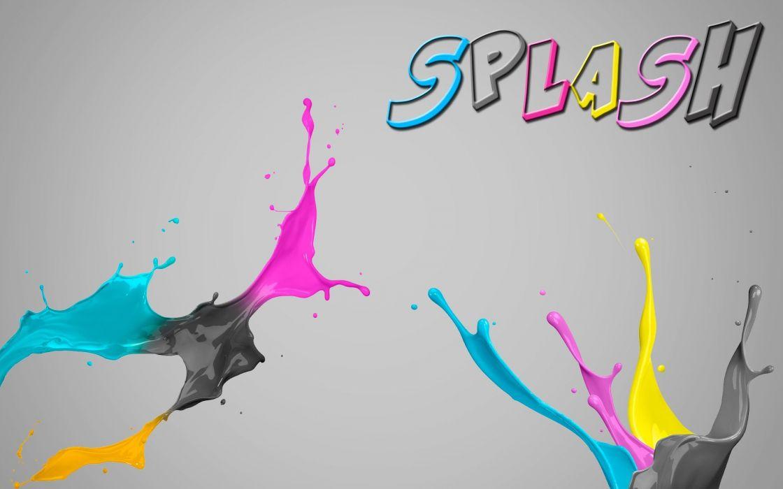 paint CMYK colors splashes paint splatter wallpaper