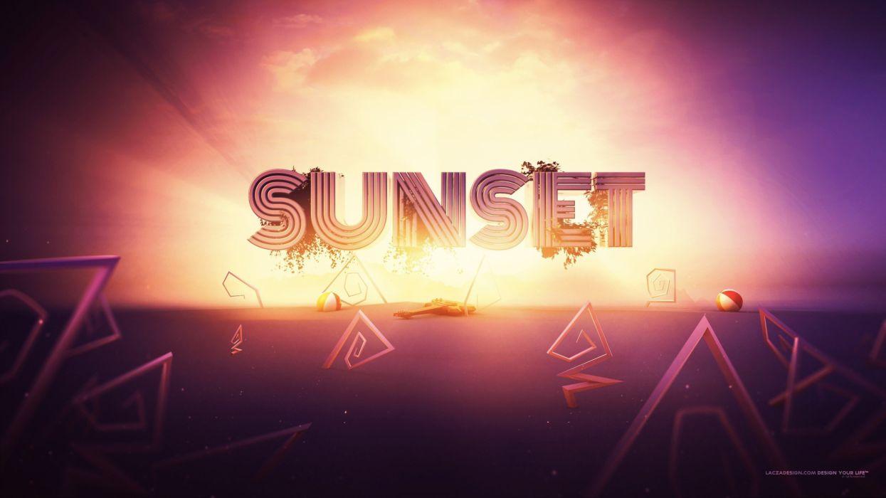sunset summer typography digital art artwork lacza wallpaper