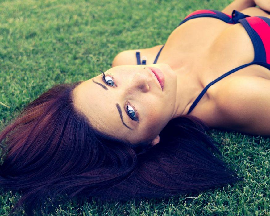 brunettes women bikini blue eyes outdoors lying down faces Sierra Love wallpaper