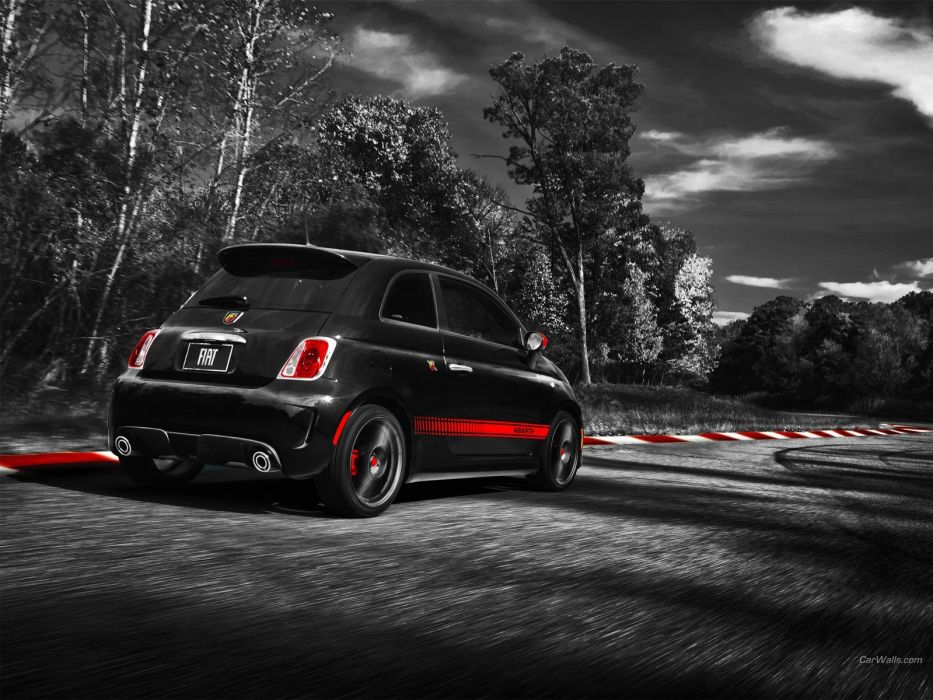 black cars Fiat 500 Abarth selective coloring wallpaper