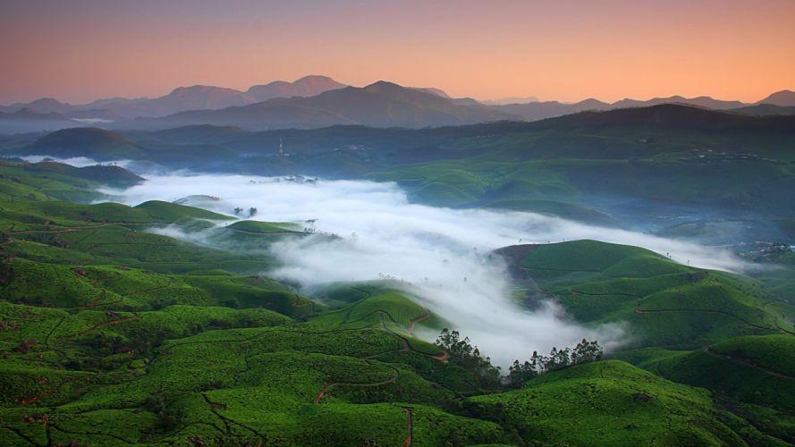 mountains nature fields valleys mist India morning wallpaper