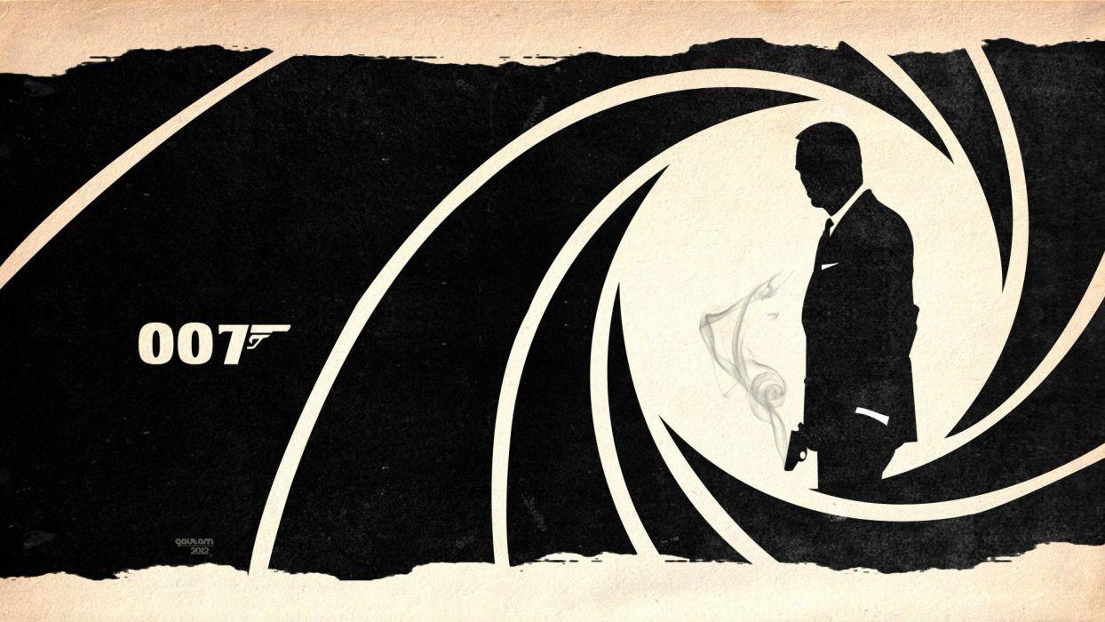 paper guns smoke silhouettes James Bond Skyfall wallpaper