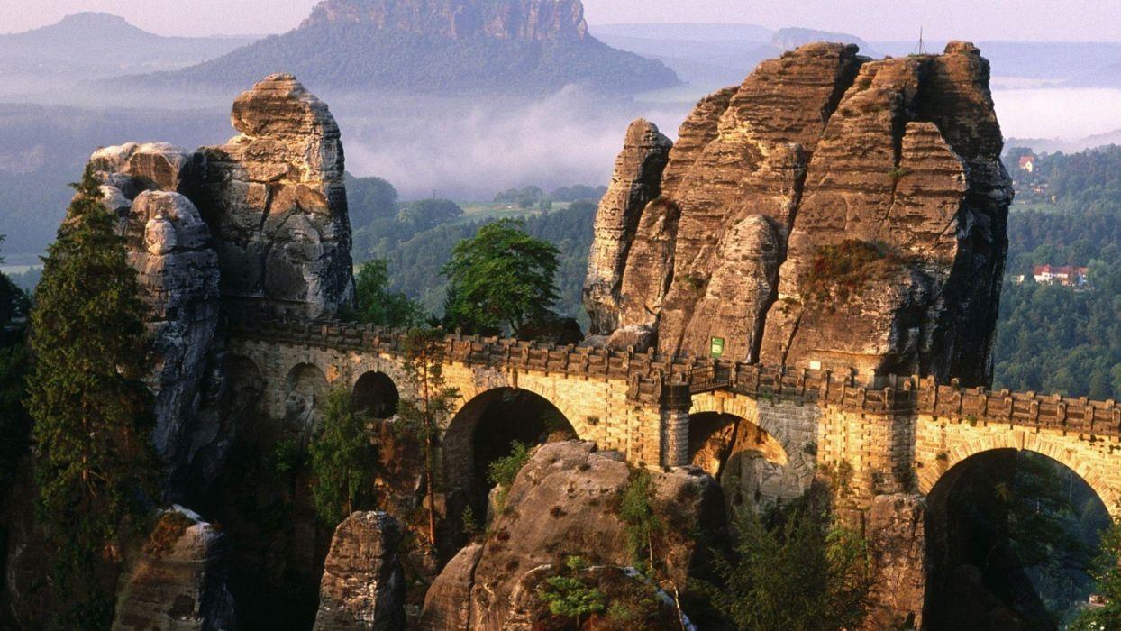 nature Germany architecture bridges buildings Bastei Bridge Saxon Switzerland wallpaper