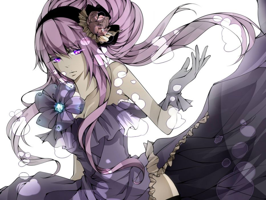 Vocaloid gloves dress flowers Megurine Luka long hair pink hair gems purple eyes hair band hair bun hair ornaments gray dress wallpaper