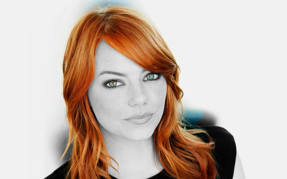 women eyes redheads Emma Stone selective coloring color splash wallpaper