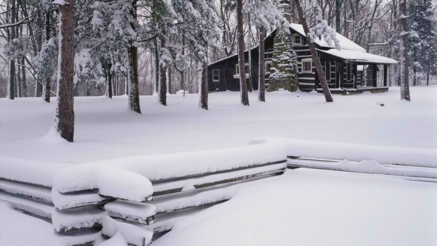 winter brown cabin parks wallpaper