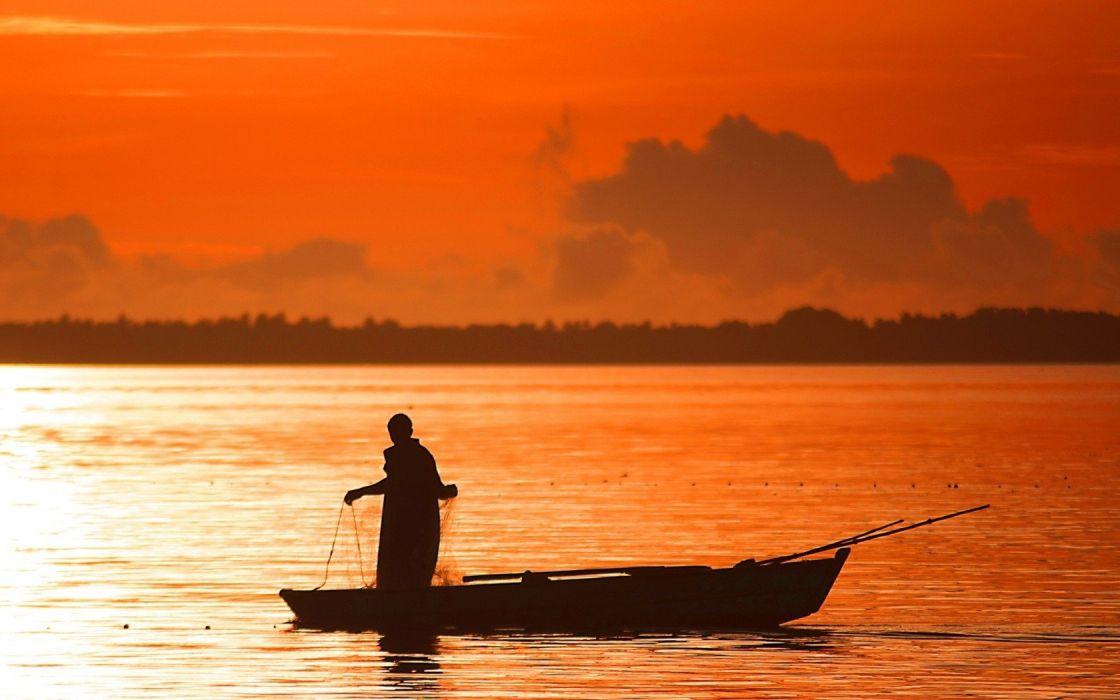 orange fishing evening wallpaper
