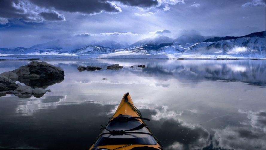 clouds winter snow California lakes kayak Mono Lake wallpaper