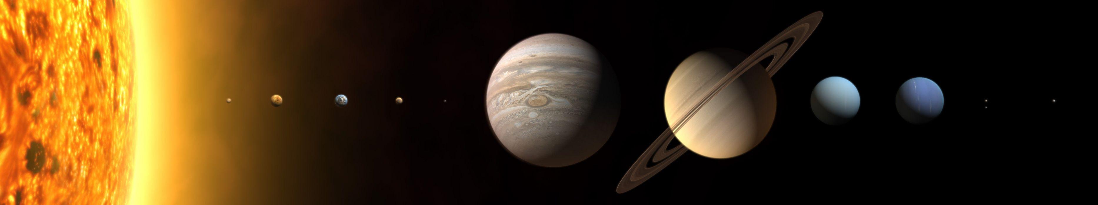 Sun Solar System planets Mars Earth Jupiter Saturn Pluto Neptune Mercury Venus Uranus multiscreen wallpaper