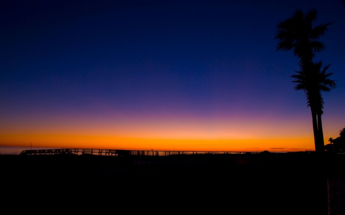 sunset landscapes nature coast silhouettes piers USA Alabama palm trees colors wallpaper