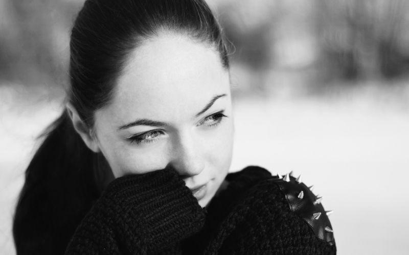 women black and white grayscale black hair wallpaper