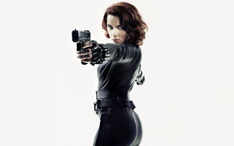 women Scarlett Johansson Black Widow Natasha Romanoff The Avengers (movie) white background wallpaper