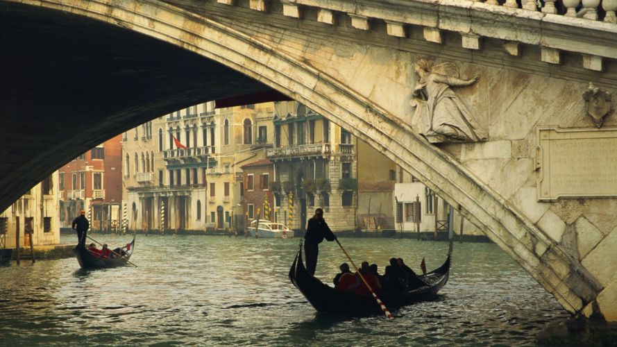 Venice grand Italy rialto bridge gondolas canal wallpaper