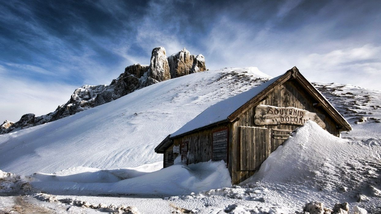 mountains landscapes nature snow snow landscapes chalets wallpaper
