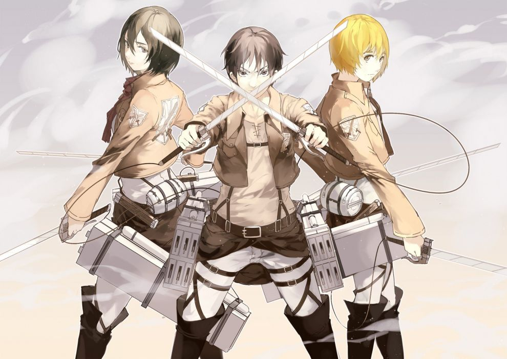 Anime Anime Boys Anime Girls Shingeki No Kyojin Mikasa Ackerman Eren Jaeger Armin Arlert Wallpaper 1865x1319 290732 Wallpaperup