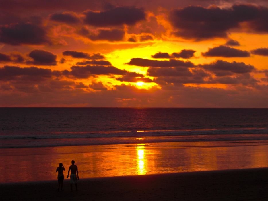 sunset nature Costa Rica skyscapes beaches wallpaper