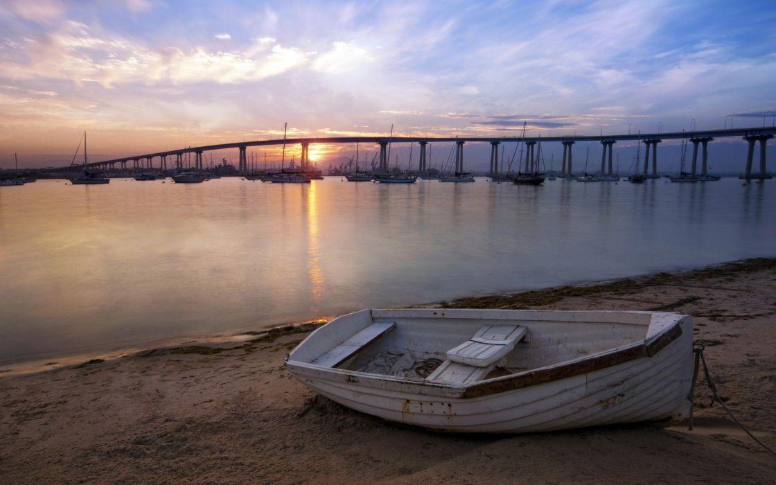 sunset bridges boats sea wallpaper
