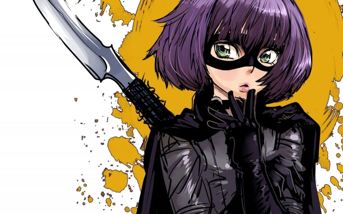 film purple hair Kick-Ass Hit Girl domino mask wallpaper