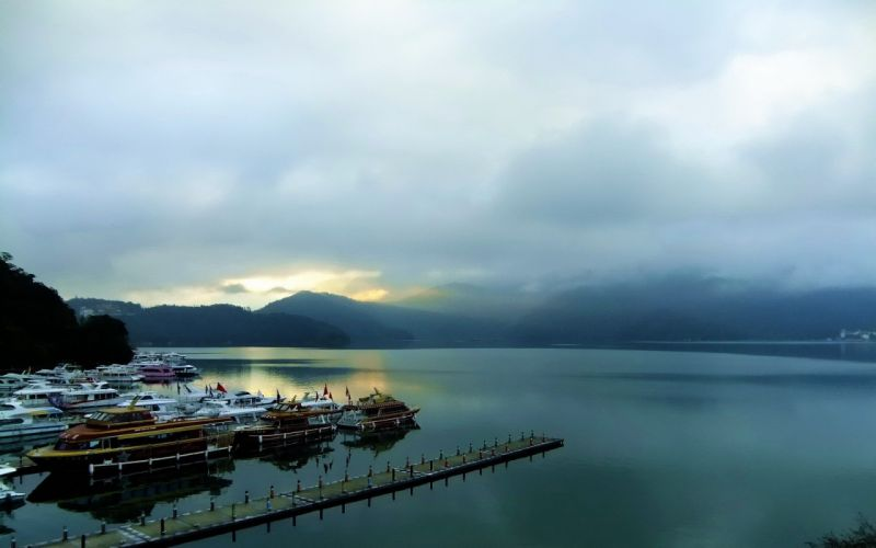 water sunrise mountains clouds landscapes dock ships piers boats lakes port skies wallpaper