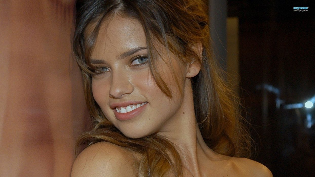 brunettes women Adriana Lima actress long hair celebrity expressionism faces wallpaper