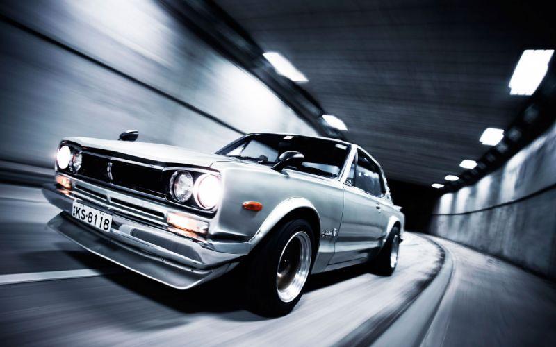 cars tunnels Nissan vehicles Nissan Skyline side view Nissan Skyline GT-R wallpaper