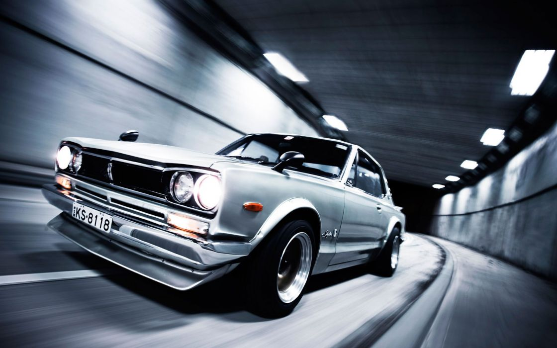 cars tunnels Nissan vehicles Nissan Skyline side view Nissan Skyline GT-R wallpaper