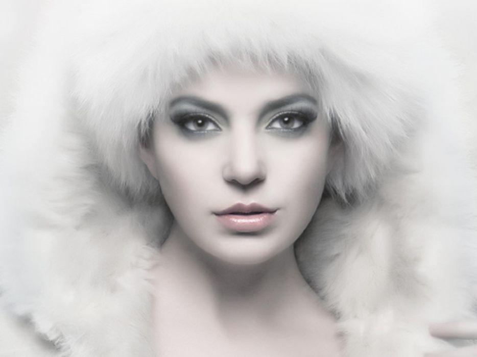 women faces white background fur hats fur clothing wallpaper