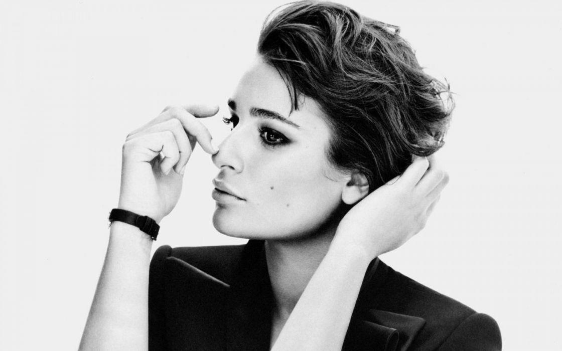 brunettes women close-up black and white Lea Michele juice wallpaper