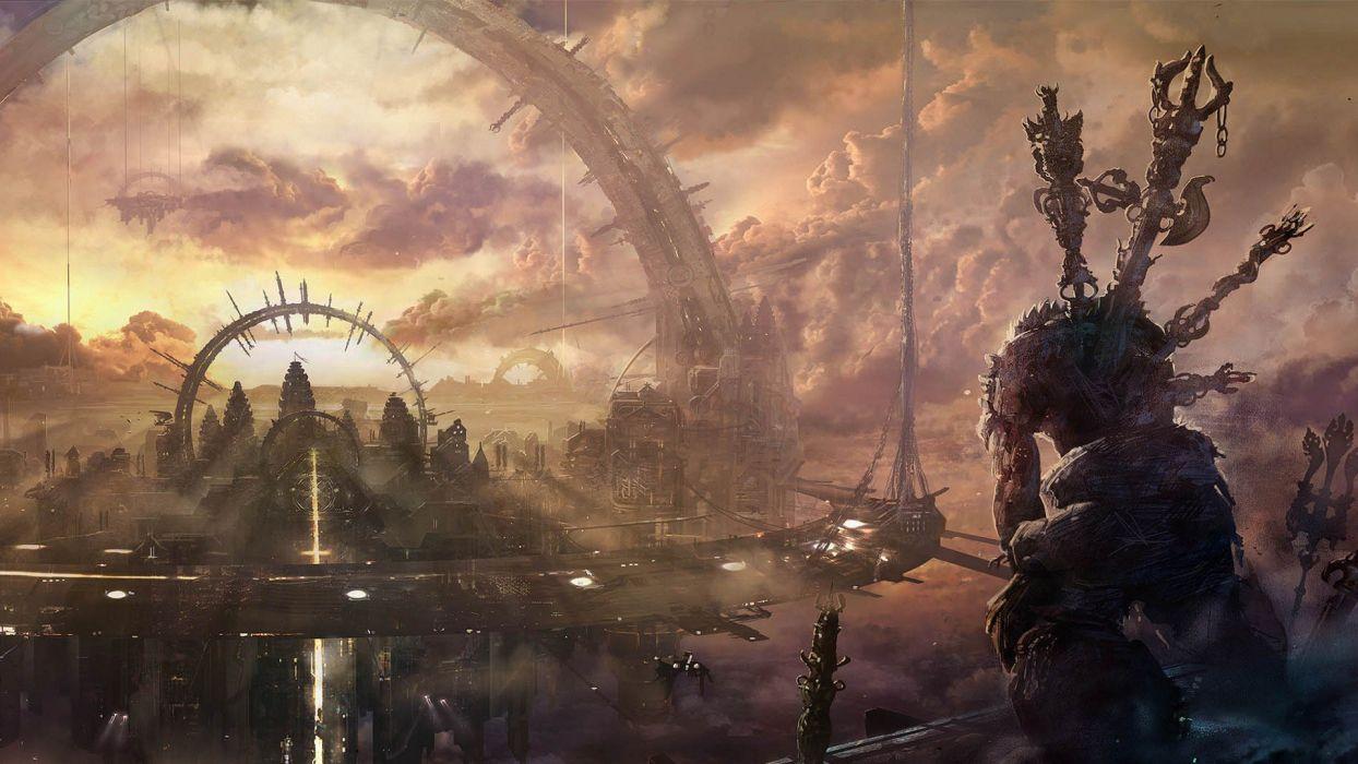 video games cityscapes fantasy art Asura's Wrath wallpaper
