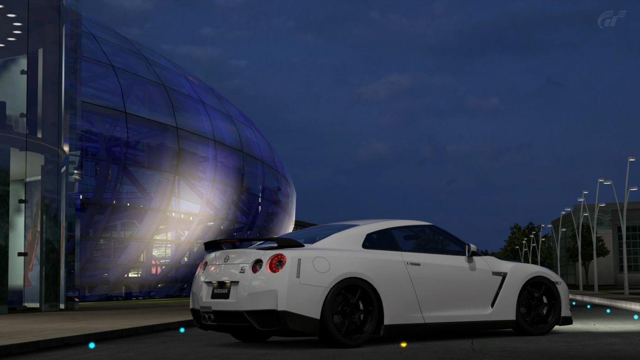 video games cars Gran Turismo 5 Playstation 3 Nissan GTR Spec-V Red Bull's Hangar wallpaper