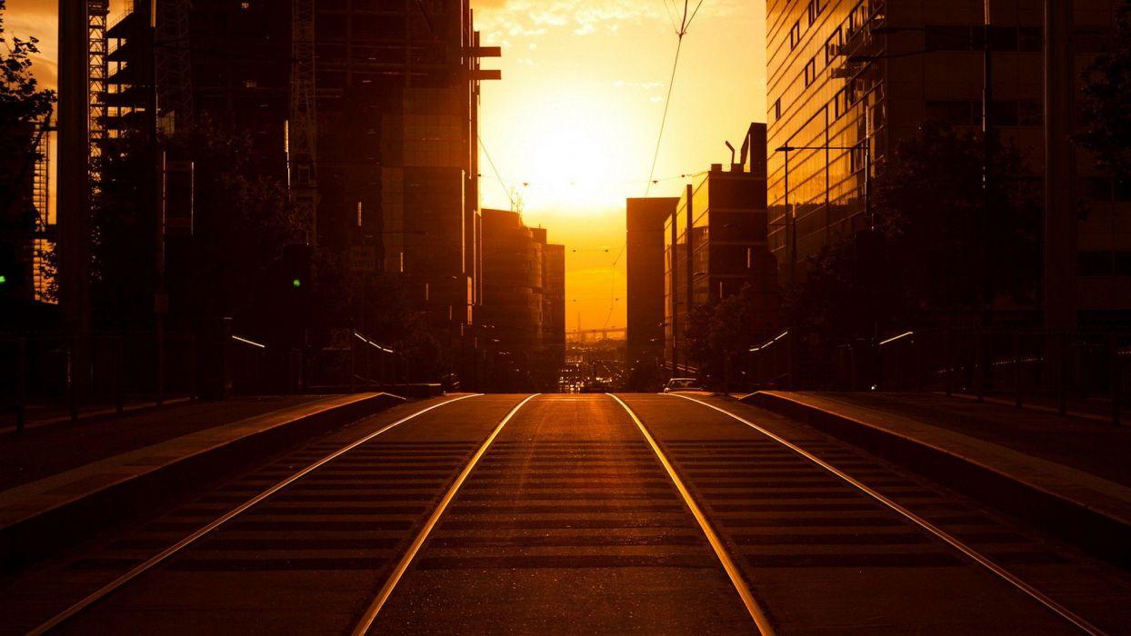 sunset sunrise landscapes Sun cityscapes urban railroad tracks roads railroads wallpaper