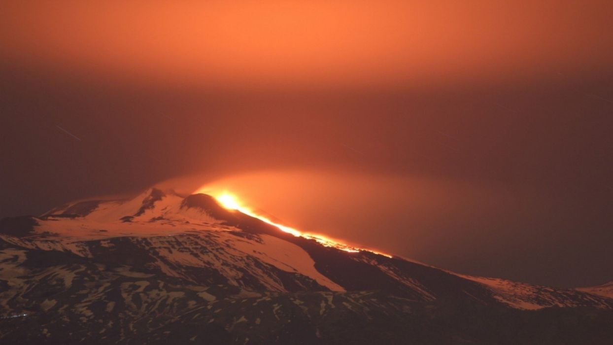 landscapes snow volcanoes Etna Italy panorama eruption Italia wallpaper