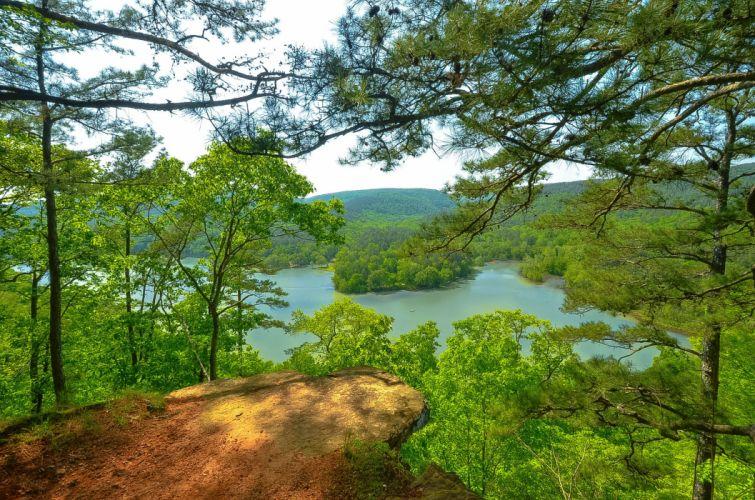 Arkansas river hills trees landscape wallpaper