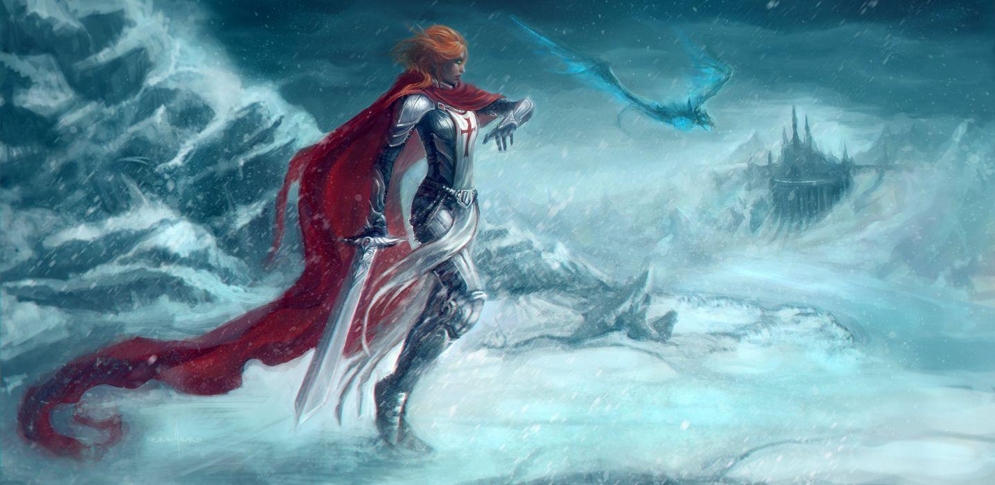 art world of warcraft girl crusader warrior fantasy dragon wallpaper