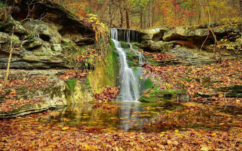 Autumn Wallpapers rocks wood trees waterfall nature wallpaper